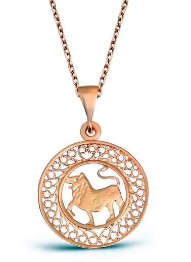 Argentum Concept Aslan Burcu Gümüş Madalyon Kolye - N135901 Pembe